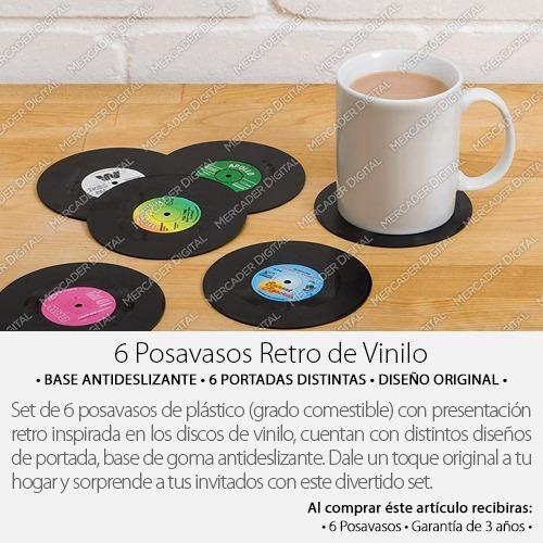set 6 portavasos en forma de disco vinilo para mesa vintage