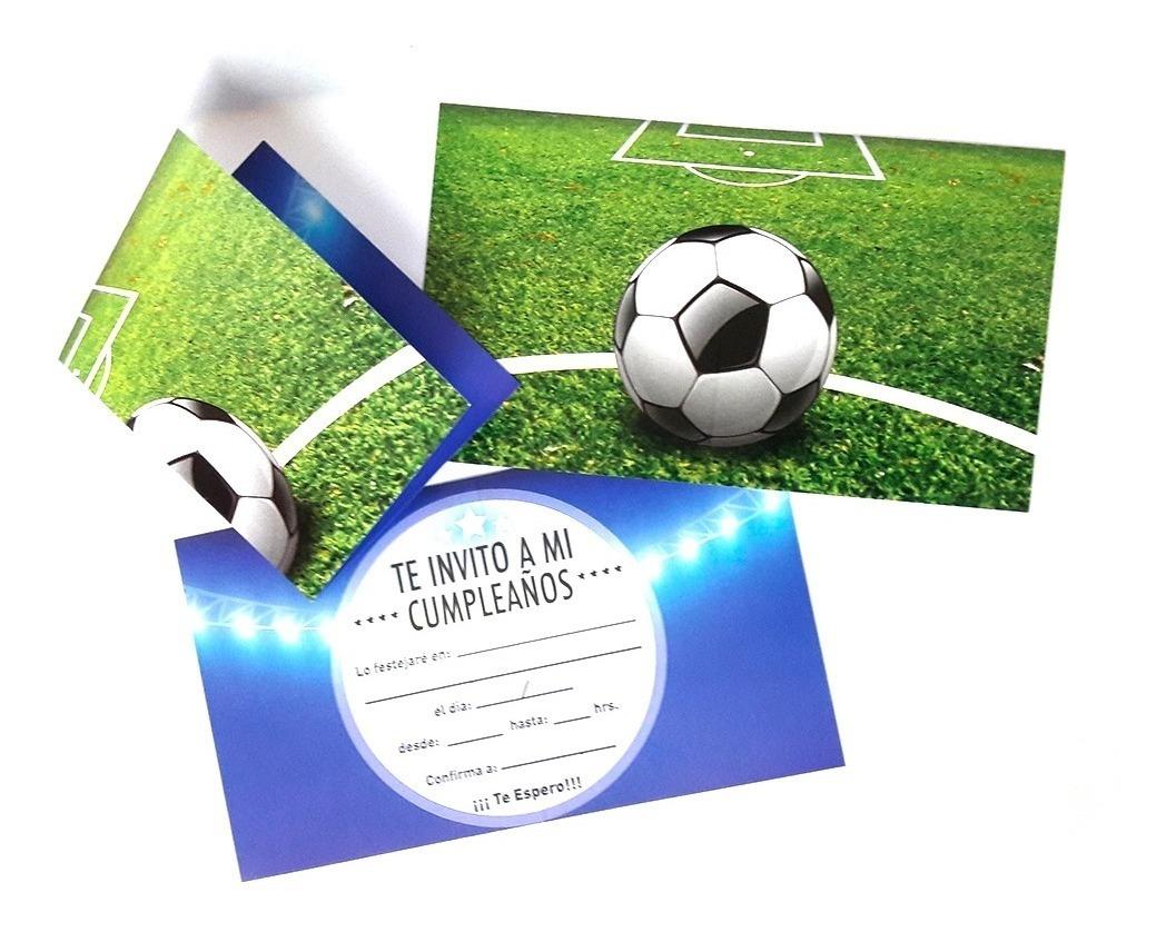 Set 6 Tarjetas Invitacion Futbol Cumpelaños Fiestaclub
