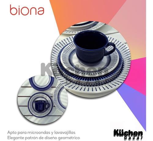 set 6 tazas de té con plato cerámica biona buzios colb apta microondas café té infusiones bebidas calientes - 200 ml