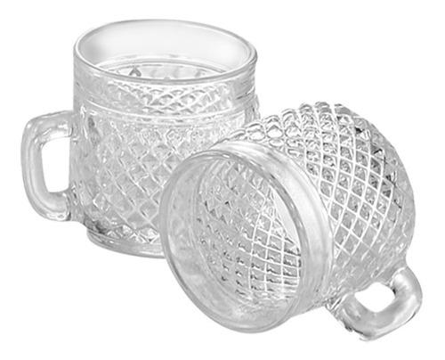 set 6 tazas de vidrio pocillo café labradas wheaton barroco tacitas - 89 ml