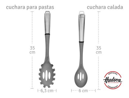 set 6 utensilios hudson nylon y acero