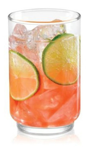 set 6 vasos de vidrio grueso cristar alegro alto bebidas vaso trago largo uso diario bares - 340 ml