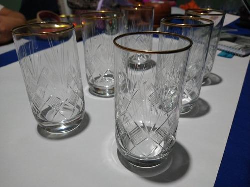 set 6 vasos trago largo cristal tallados. ribete oro
