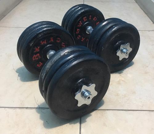 set 60 kilos pesas + mancuernas cromadas