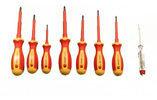 set 7 destornilladores dielectricos 1000v + buscapolo udovo
