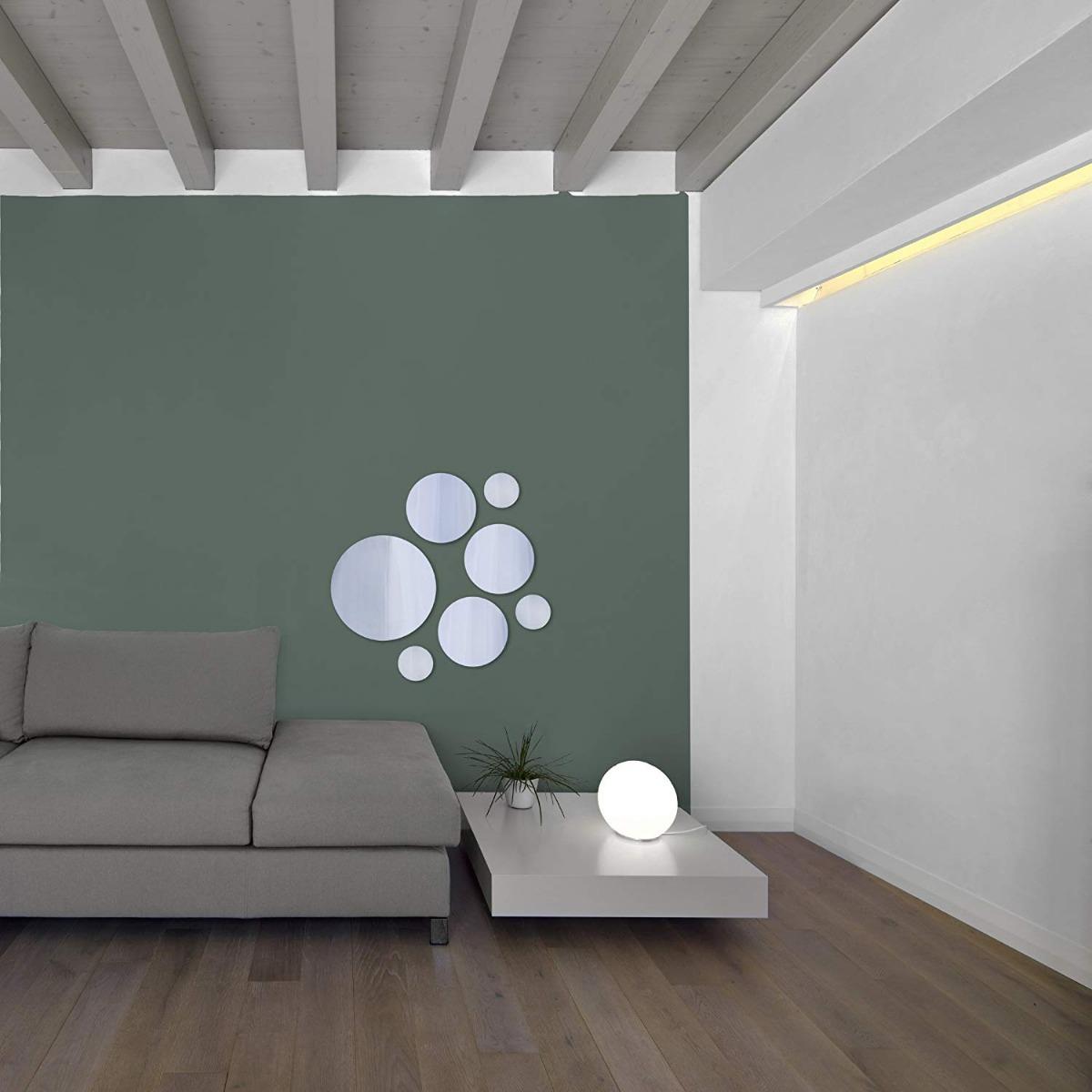 fotos de espejos decorativos para salas Set 7 Pzas Espejos Decorativos Redondos De Vidrio Ligeros Para Pared Fcil Instalacin Ideal Para Bao Recamara Sala
