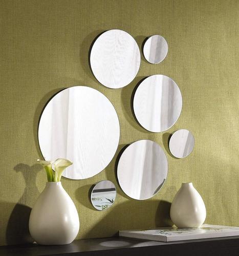 set 7 pzas espejos decorativos redondos de vidrio ligeros para pared fácil instalación ideal para baño recamara sala