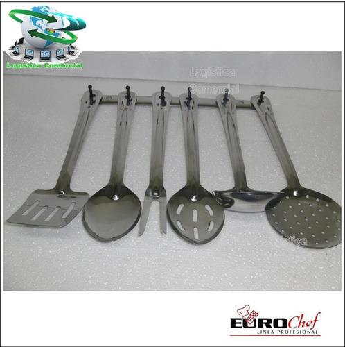 set 7 utensilios eurochef acero inoxidable cocina espatula