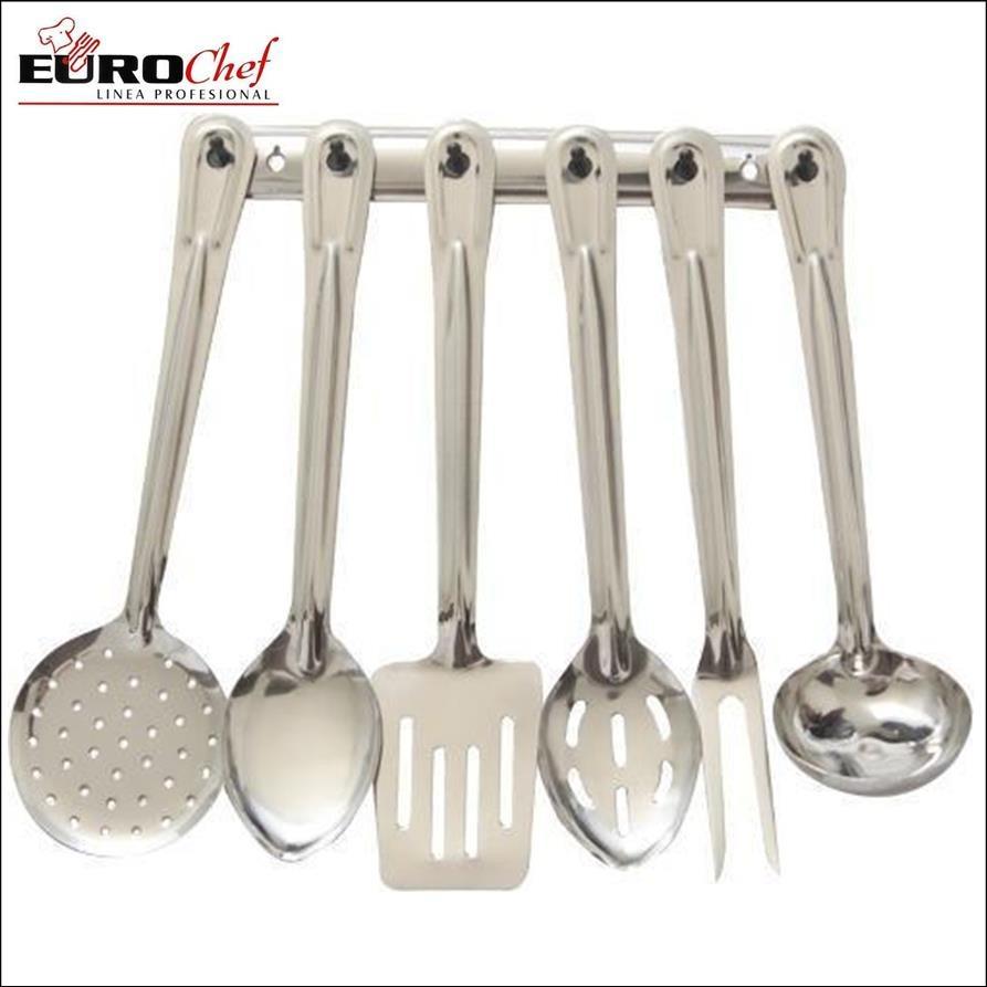 Set 7 utensilios eurochef acero inoxidable cocina espatula for Utensilios cocina acero inoxidable