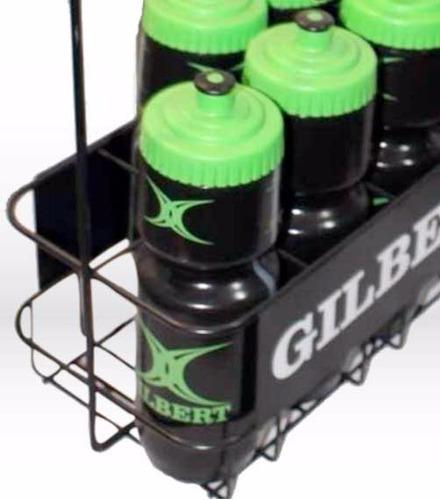 set 8 caramañolas + canasto metal gilbert rugby botellas 700