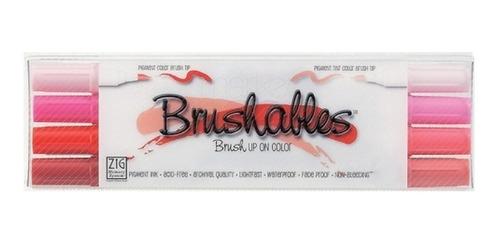 set 8 colores 4 rotuladores brushables tonos rojos kuretake