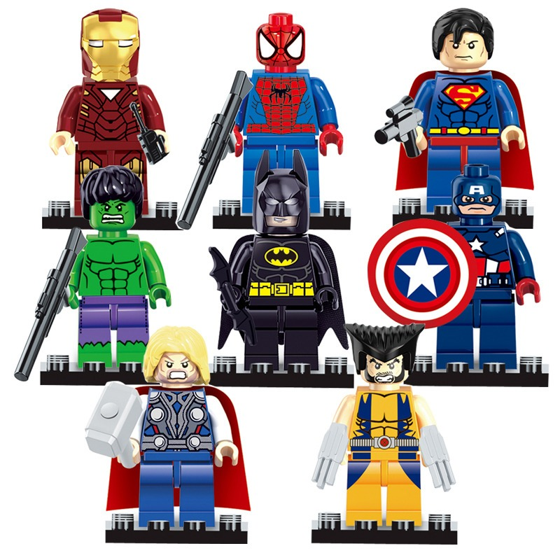 Set 8 figuras superheroes compatible lego spiderman batman - Spiderman batman lego ...