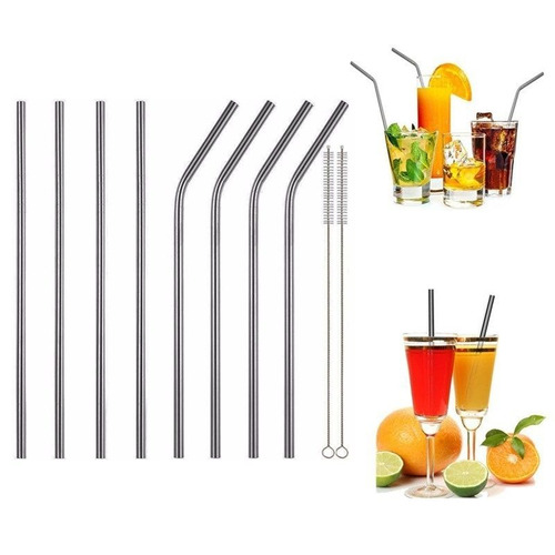 set 8 popote pajilla metal acero inoxidable ideal vasos