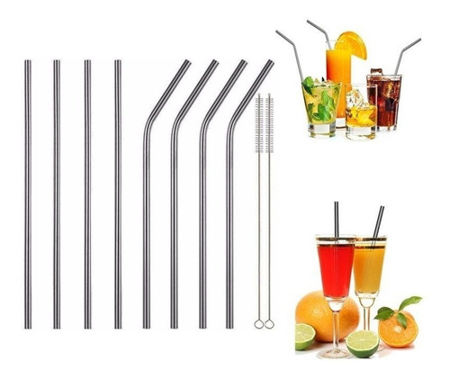 set 8 popotes pajilla metal acero inoxidable reusables vasos