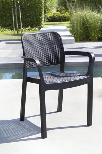 set 8 sillas tipo rattan samanna de allibert exterior jardin