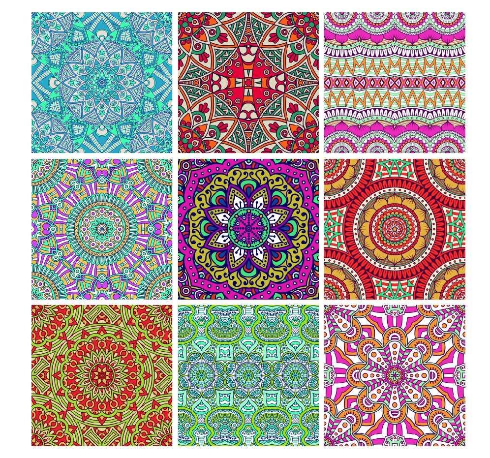 Set 9 Cuadros Mandalas En Tela Canvas Enbastidor Decorativos - Como-hacer-cuadros-de-tela