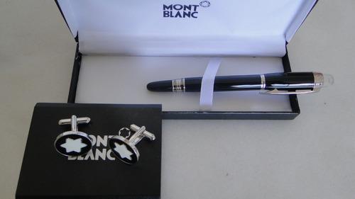 set abotoaduras e caneta mont blanc