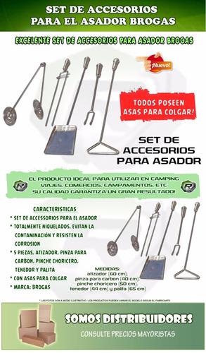 set accesorios parrillero + brasero enlozado+ brasas rapidas