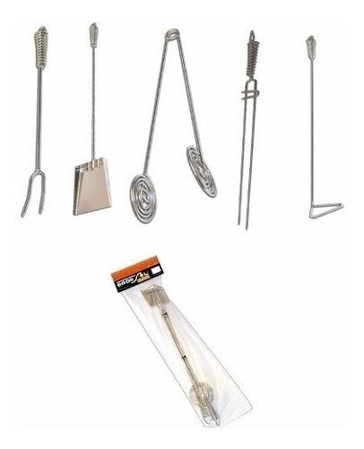 set accesorios parrillero + brasero premium kit parrilla