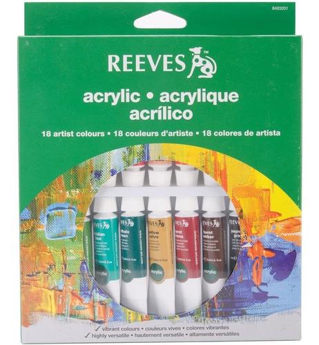 set acrilicos reeves en estuche x18 pomos 10 ml profesional