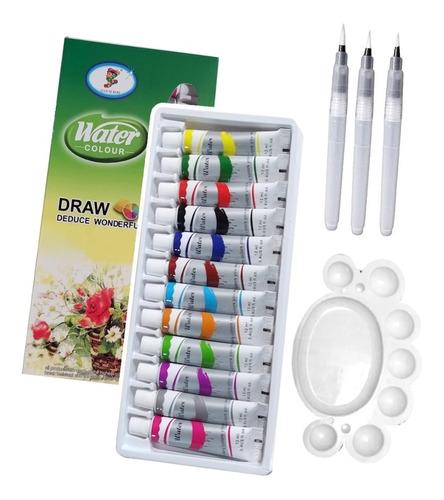 set acuarelas x12 + pincel water brush + paleta mezcladora