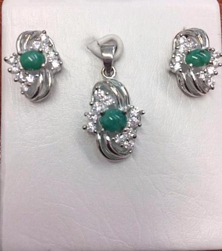 set aderezo juego plata esmeraldas dama mujer madre |lujoyas
