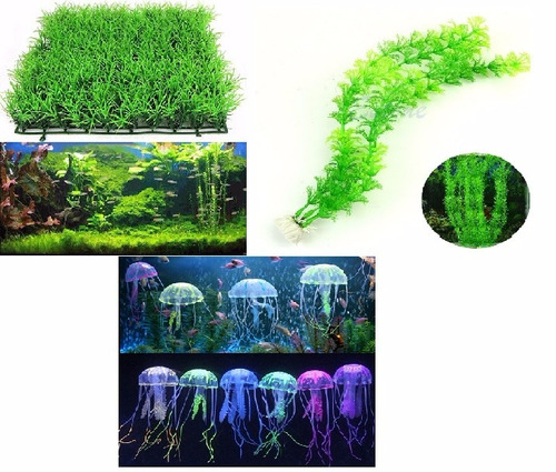 set adornos acuario, pasto superficie, alga + 2 medusas azar