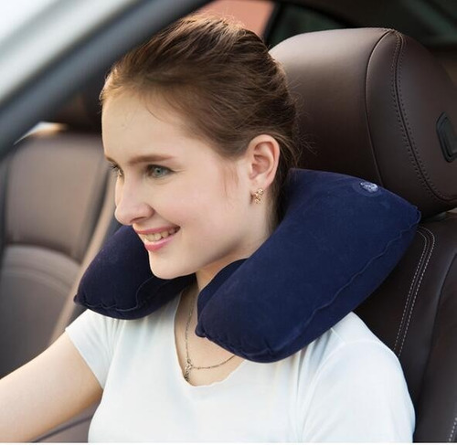 set almohada cojín viajera inflable cuello avión estrés kit