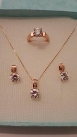 a5f7c031a560 Set Anillo Oro Rosa 18k Con Collar Y Aretes Cristal Swarovsk