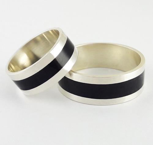 set anillos compromiso plata y madera ébano 8mm casamiento