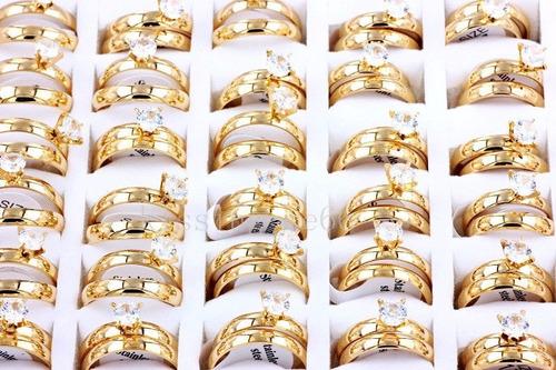 set anillos de matrimonio boda con baño de oro 18k