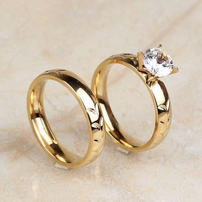 Set anillos de matrimonio boda con ba o de oro 18k - Bano de oro precio ...