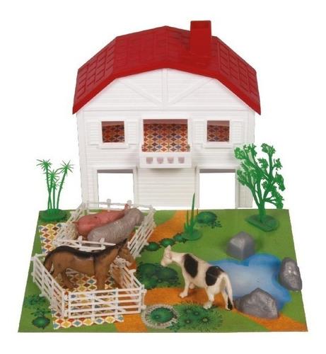 set animales de granja con establo (1199)
