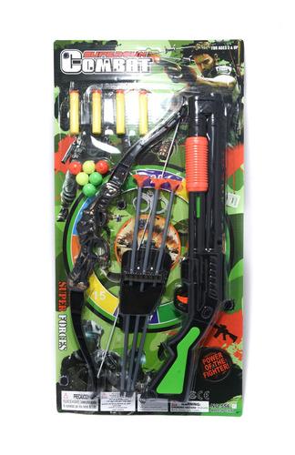 set arma c/arco lanza dardos + diana regalo juguete niño