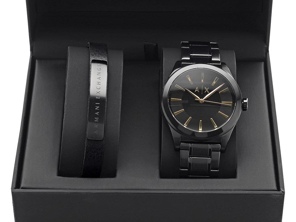 dc5dcab3ea90 set armani exchange ax7102 reloj pulsera negro caballero. Cargando zoom.