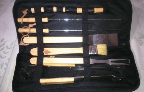 set asado kit parrilla 10 piezas con estuche con logo