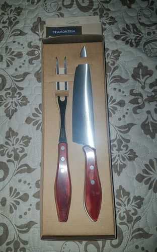 set asado parrillero tramontina 2 piezas metal-madera
