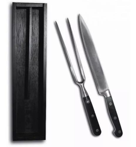 set asador kit parrillero asado trento cuchillo trinche negr