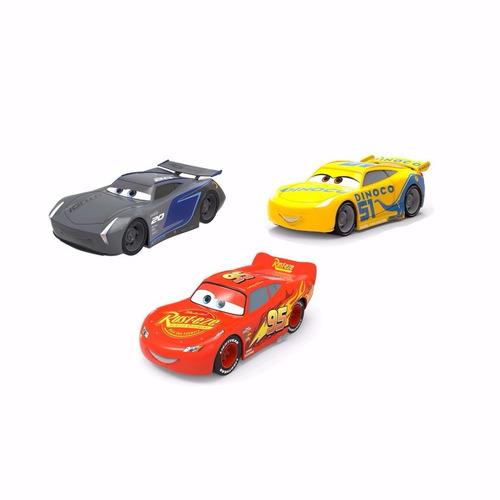 set autos personajes cars x3 pull back 13cm disney