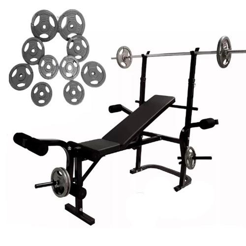 set banco multiposiciones barra recta discos pesas gym