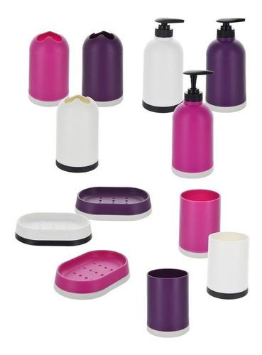 set baño 6pcs plastico liso c/cepillo p/inodoro y papelera