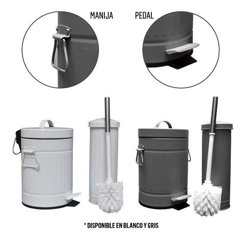 set baño cesto tacho basura 3 lts escobilla accesorios pc rt