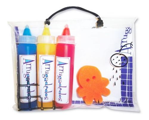set baño valija c/ 3 crayones esponja y pizarra arrugadedos