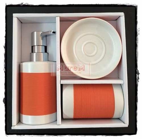set baños ceramica 3 piezas : factura a naranaja