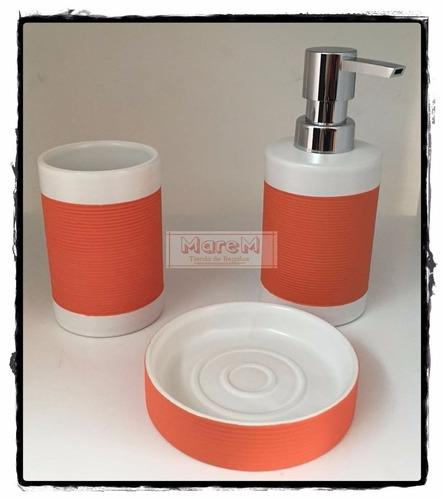 set baños ceramica 3 piezas : factura a naranaja urquiza