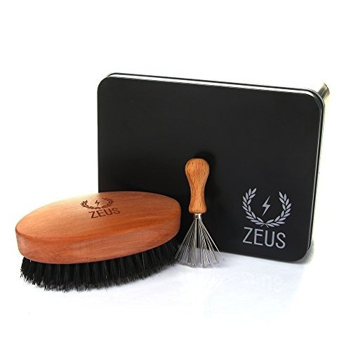 set barba/bigote zeus cepillo cerdas jabalí y limpiador cer