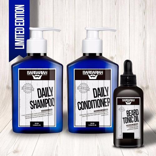 set barbarian con shampoo, acondicionador y oil para barba