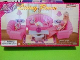 set barbie gloria sala de estar abanico linving room