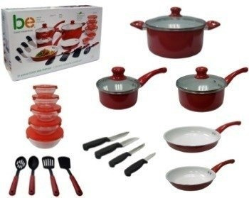 set bateria cocina 8 pcs+4 cuchillos+4 utensilios+5 bowls