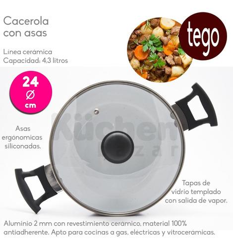 set batería cocina cerámica antiadherente x5 pz cuotas